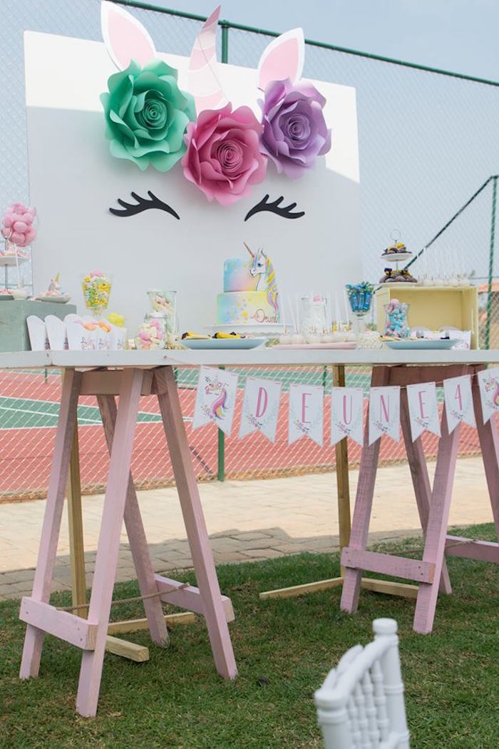 Unicorn Themed Dessert Table from a Floral Unicorn Birthday Party on Kara's Party Ideas | KarasPartyIdeas.com (4)