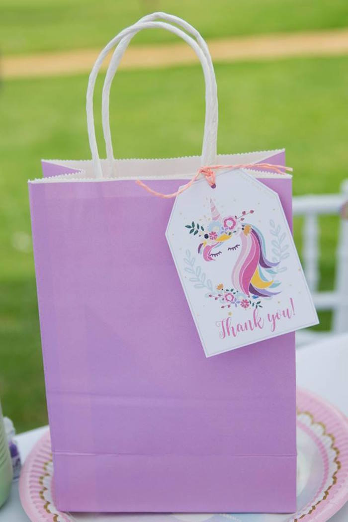Unicorn Favor Sack from a Floral Unicorn Birthday Party on Kara's Party Ideas | KarasPartyIdeas.com (36)