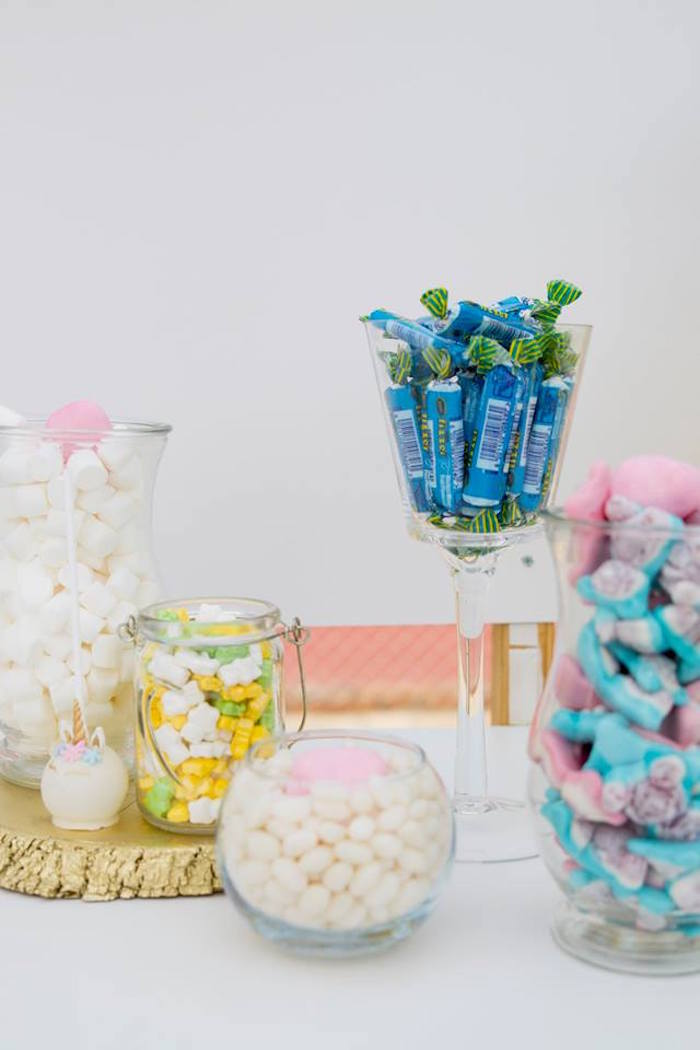 Candy Buffet from a Floral Unicorn Birthday Party on Kara's Party Ideas | KarasPartyIdeas.com (35)