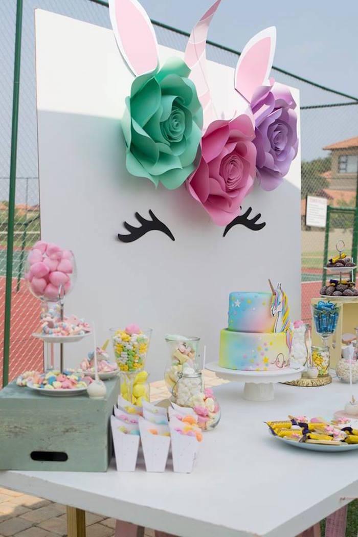 Unicorn Party Table from a Floral Unicorn Birthday Party on Kara's Party Ideas | KarasPartyIdeas.com (34)
