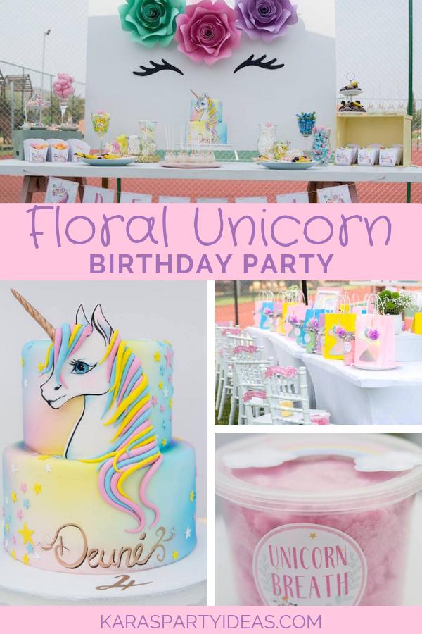 Floral Unicorn Birthday Party via Kara's Party Ideas - KarasPartyIdeas.com
