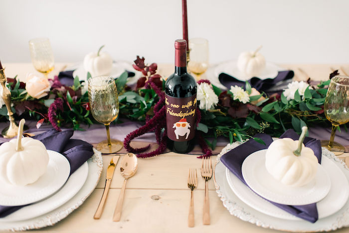 Thanksgiving Tablescape from a Friendsgiving FRIENDS Themed Thanksgiving Party on Kara's Party Ideas | KarasPartyIdeas.com (38)