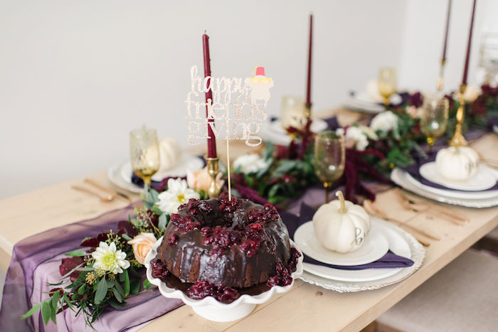 Thanksgiving Tablescape from a Friendsgiving FRIENDS Themed Thanksgiving Party on Kara's Party Ideas | KarasPartyIdeas.com (17)