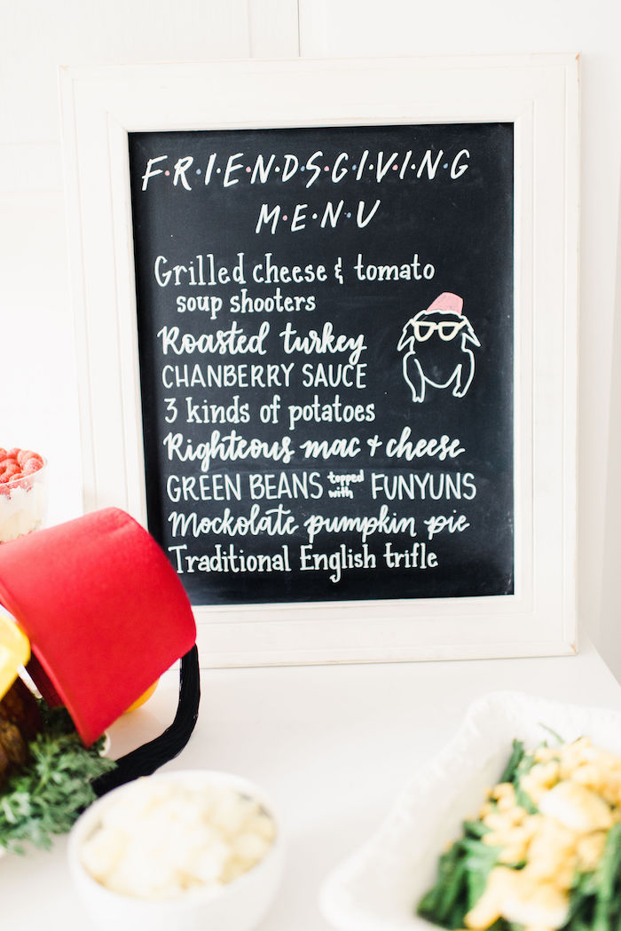Friendsgiving Chalkboard Menu from a Friendsgiving FRIENDS Themed Thanksgiving Party on Kara's Party Ideas | KarasPartyIdeas.com (14)