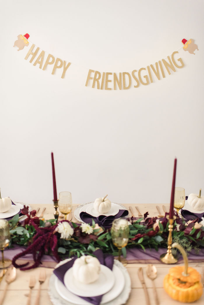 Thanksgiving Dining Table from a Friendsgiving FRIENDS Themed Thanksgiving Party on Kara's Party Ideas | KarasPartyIdeas.com (12)