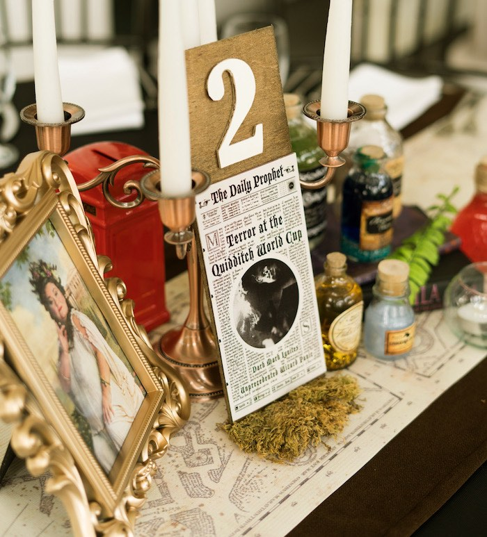 Harry Potter Themed Table Centerpiece from a Harry Potter Birthday Party on Kara's Party Ideas | KarasPartyIdeas.com (46)