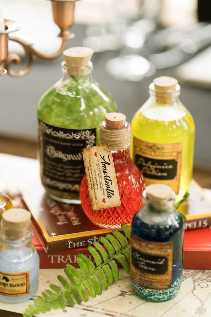 Harry Potter Potion Bottle Table Centerpiece from a Harry Potter Birthday Party on Kara's Party Ideas | KarasPartyIdeas.com (39)