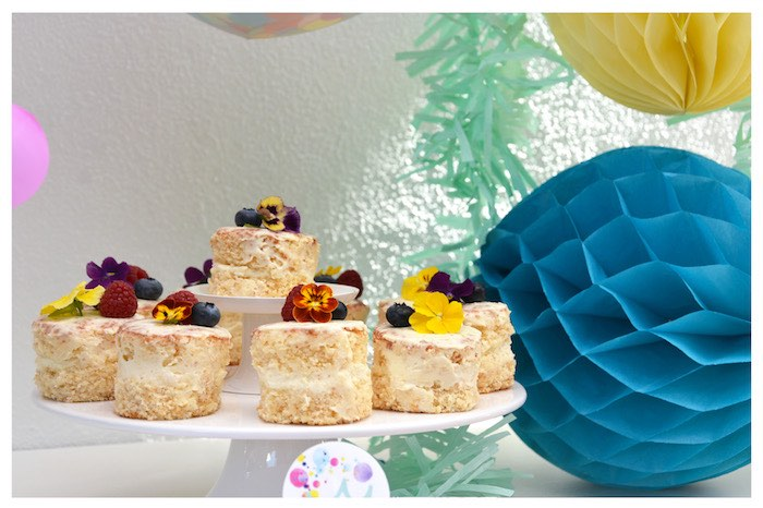 Mini Cakes topped with Fresh Flowers from a Joy of Color Birthday Party on Kara's Party Ideas | KarasPartyIdeas.com (14)