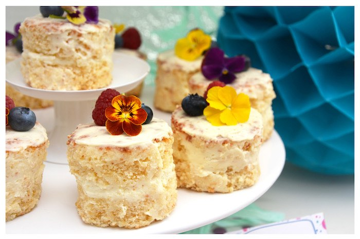 Mini Flower Cakes from a Joy of Color Birthday Party on Kara's Party Ideas | KarasPartyIdeas.com (10)