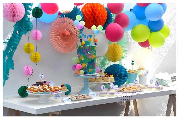 Colorful Dessert Table from a Joy of Color Birthday Party on Kara's Party Ideas   KarasPartyIdeas.com (9)