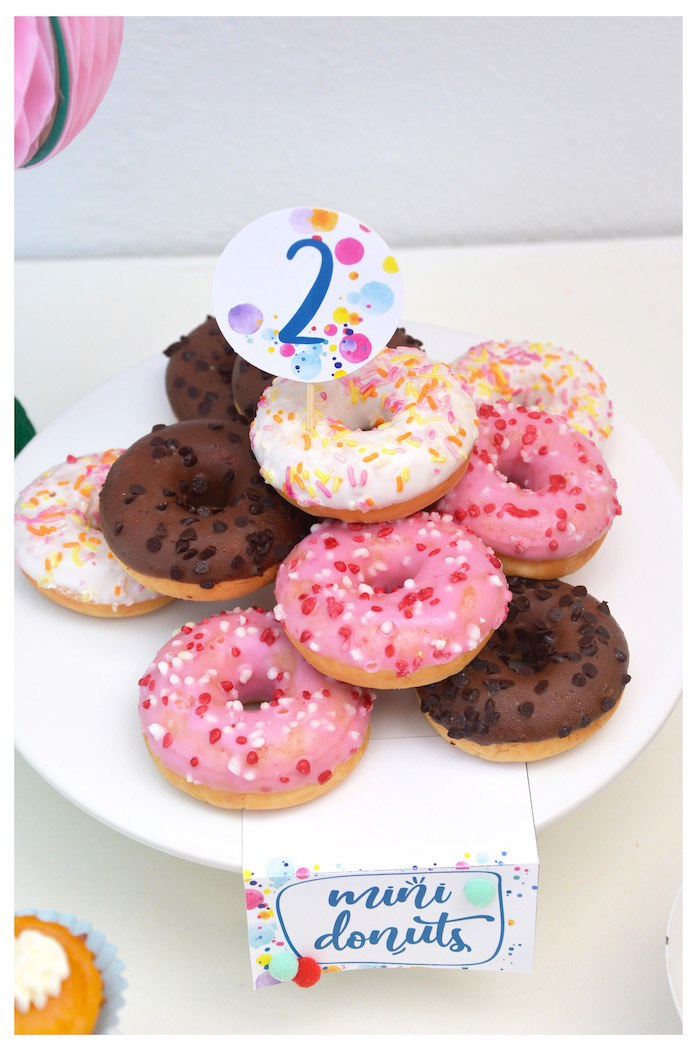 Doughnuts from a Joy of Color Birthday Party on Kara's Party Ideas   KarasPartyIdeas.com (25)