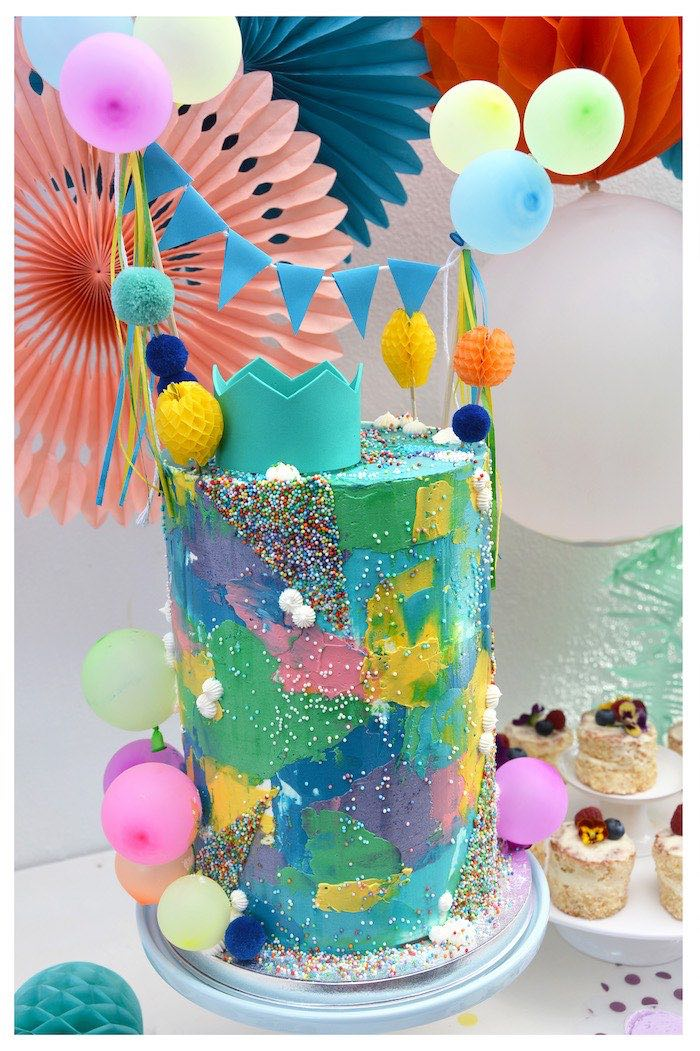 Colorful Watercolor Cake from a Colorful Watercolor Cake from a Joy of Color Birthday Party on Kara's Party Ideas | KarasPartyIdeas.com (24)