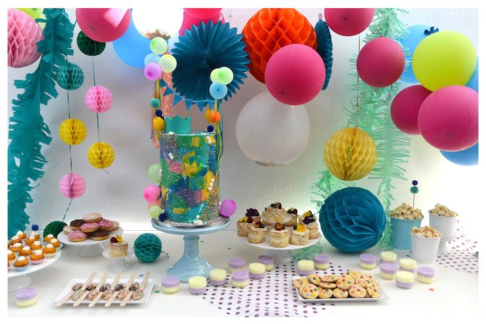 Dessert Table from a Joy of Color Birthday Party on Kara's Party Ideas | KarasPartyIdeas.com (21)