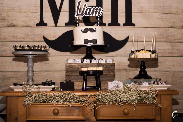 Little Man Dessert Table from a Little Man Mustache Party on Kara's Party Ideas | KarasPartyIdeas.com (9)