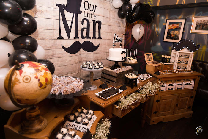 Little Man Dessert Table from a Little Man Mustache Party on Kara's Party Ideas | KarasPartyIdeas.com (8)