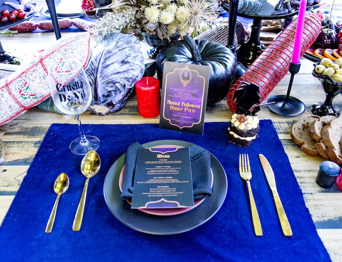 Halloween Dinner Party Table Setting from a Maleficent's Villain Halloween Party on Kara's Party Ideas | KarasPartyIdeas.com (24)