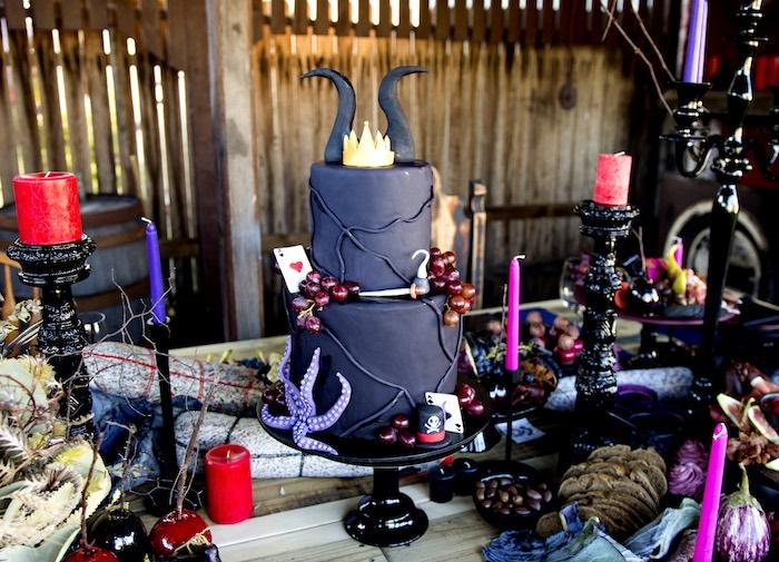 Maleficent Cake from a Maleficent's Villain Halloween Party on Kara's Party Ideas | KarasPartyIdeas.com (21)