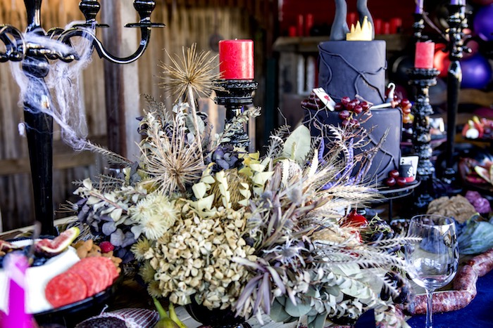Decayed Flower Centerpiece from a Maleficent's Villain Halloween Party on Kara's Party Ideas | KarasPartyIdeas.com (20)