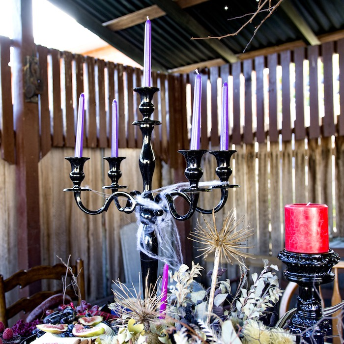 Black Candleabra with Purple Candle Sticks from a Maleficent's Villain Halloween Party on Kara's Party Ideas | KarasPartyIdeas.com (19)