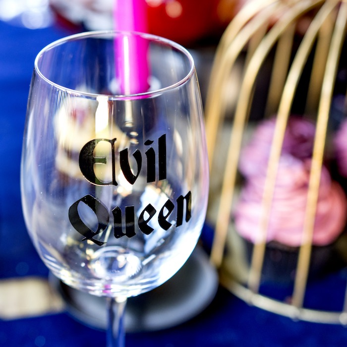 Evil Queen-scripted wine glass from a Maleficent's Villain Halloween Party on Kara's Party Ideas | KarasPartyIdeas.com (16)