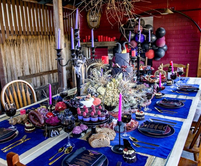 Maleficent-inspired Party Table from a Maleficent's Villain Halloween Party on Kara's Party Ideas | KarasPartyIdeas.com (10)