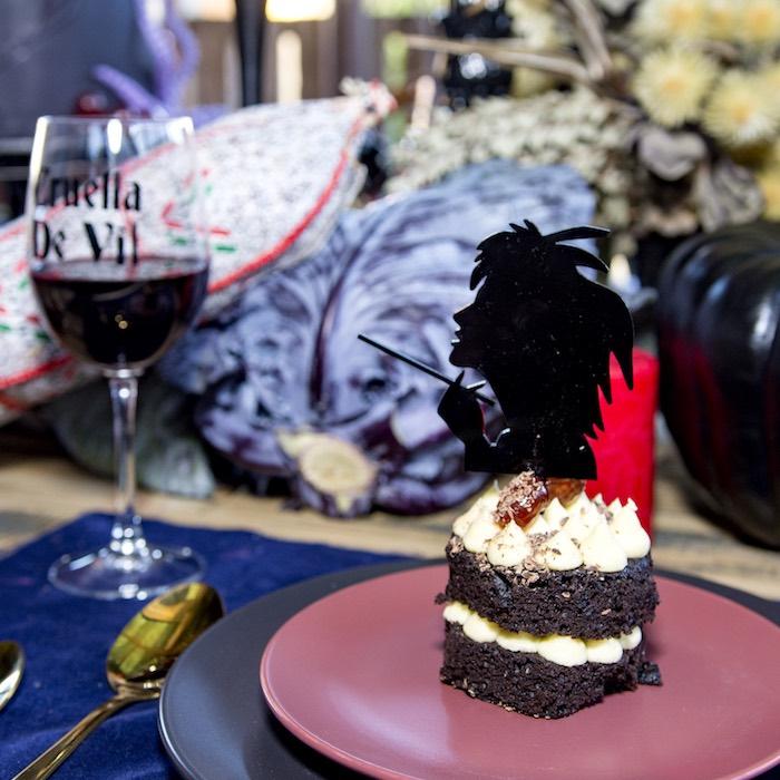 Cruella De Vil Table Setting from a Maleficent's Villain Halloween Party on Kara's Party Ideas | KarasPartyIdeas.com (7)