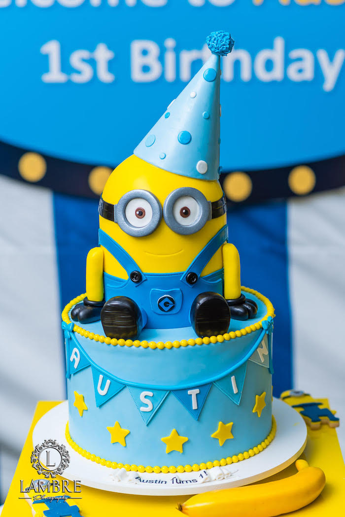 Minion Cake from a Minion Carnival Birthday Party on Kara's Party Ideas | KarasPartyIdeas.com (13)