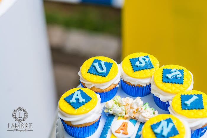 Personalized Name Cupcakes from a Minion Carnival Birthday Party on Kara's Party Ideas | KarasPartyIdeas.com (12)
