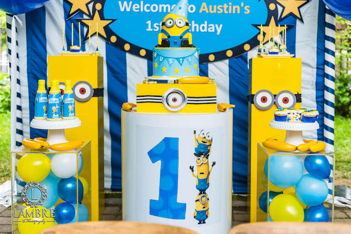 Minion Inspired Dessert Spread from a Minion Carnival Birthday Party on Kara's Party Ideas | KarasPartyIdeas.com (11)