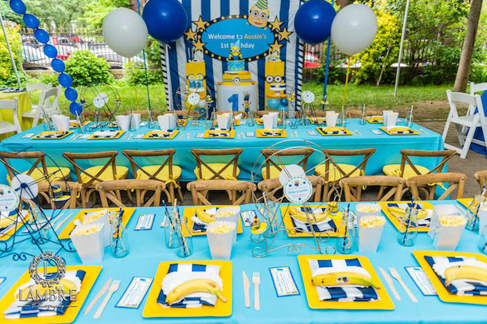 Minion Party Tables from a Minion Carnival Birthday Party on Kara's Party Ideas | KarasPartyIdeas.com (10)