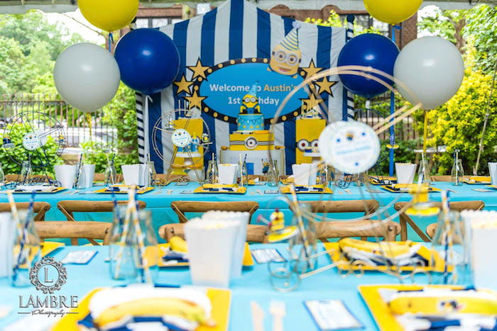 Minion Party Tables from a Minion Carnival Birthday Party on Kara's Party Ideas | KarasPartyIdeas.com (9)