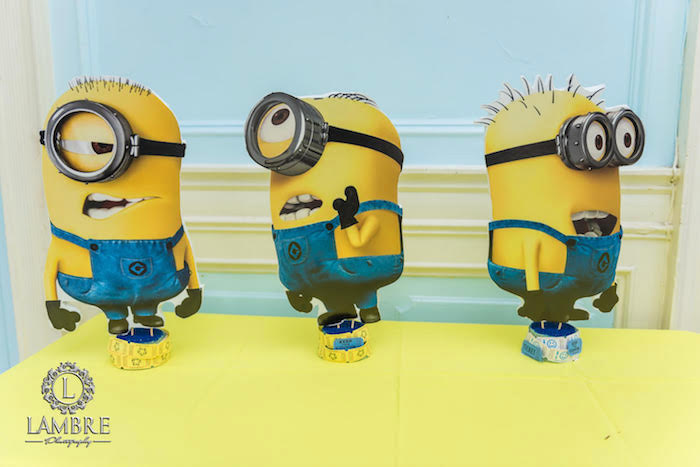 Minion Table Centerpieces from a Minion Carnival Birthday Party on Kara's Party Ideas | KarasPartyIdeas.com (7)