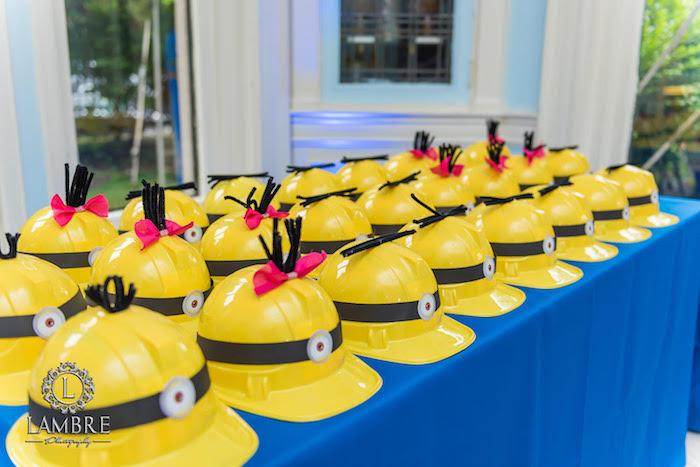 Minion Hard Hats from a Minion Carnival Birthday Party on Kara's Party Ideas | KarasPartyIdeas.com (6)