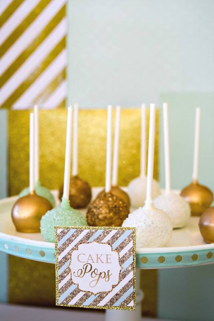Cake Pops from a Mint & Gold Party on Kara's Party Ideas | KarasPartyIdeas.com (11)