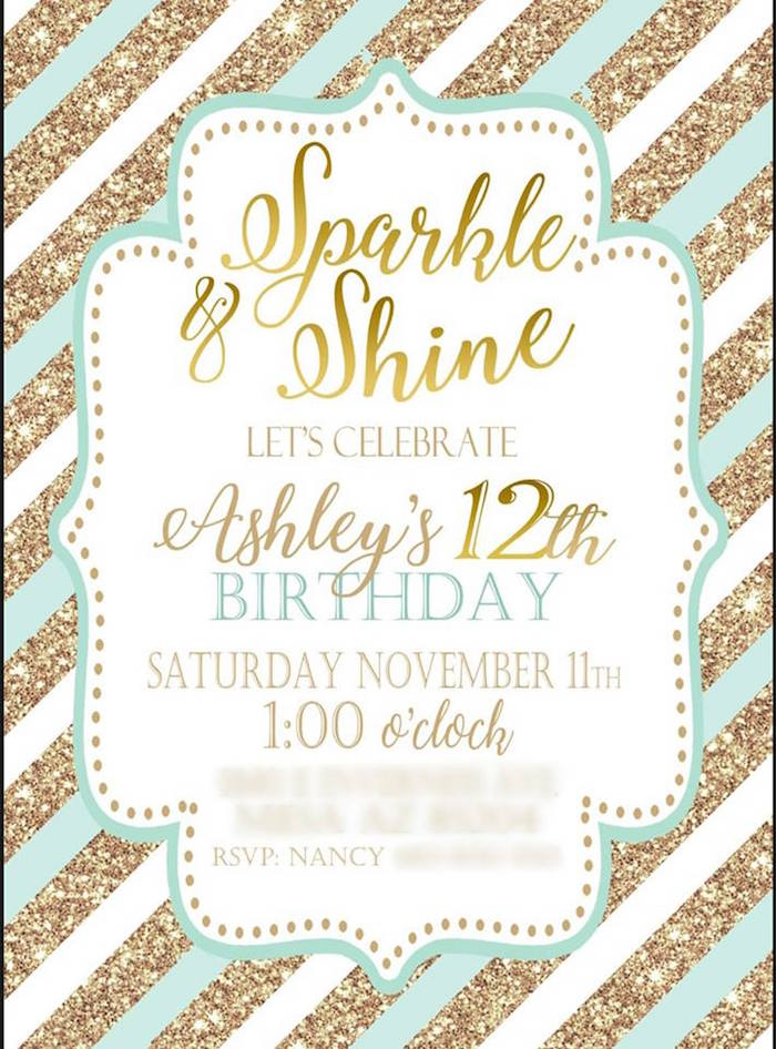 Sparkle & Shine Party Invite from a Mint & Gold Party on Kara's Party Ideas | KarasPartyIdeas.com (10)