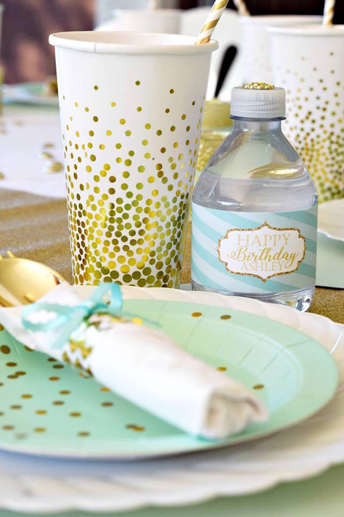 Mint & Gold Table Setting from a Mint & Gold Party on Kara's Party Ideas | KarasPartyIdeas.com (8)