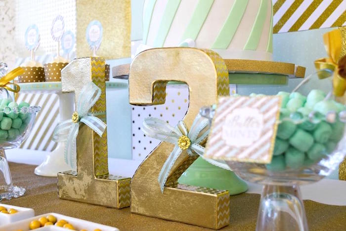 Gold Numbers adorned with Mint Ribbons from a Mint & Gold Party on Kara's Party Ideas | KarasPartyIdeas.com (7)