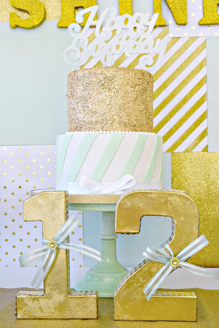 Mint and Gold Cake from a Mint & Gold Party on Kara's Party Ideas | KarasPartyIdeas.com (6)