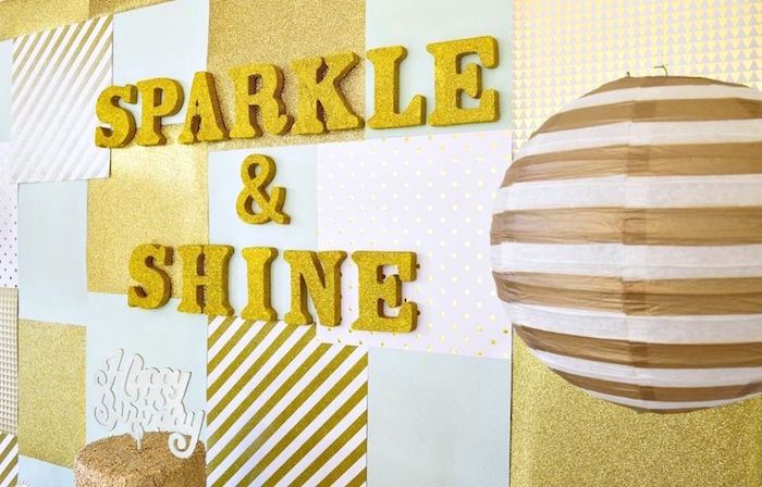 Sparkle & Shine Backdrop from a Mint & Gold Party on Kara's Party Ideas | KarasPartyIdeas.com (5)