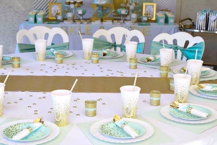 Min + Gold Guest Table from a Mint & Gold Party on Kara's Party Ideas | KarasPartyIdeas.com (3)