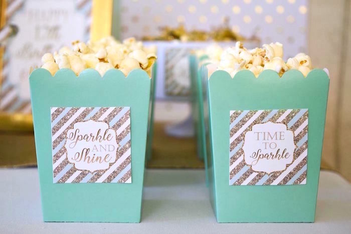 Mint Popcorn Boxes with Gold + White Tags from a Mint & Gold Party on Kara's Party Ideas | KarasPartyIdeas.com (18)