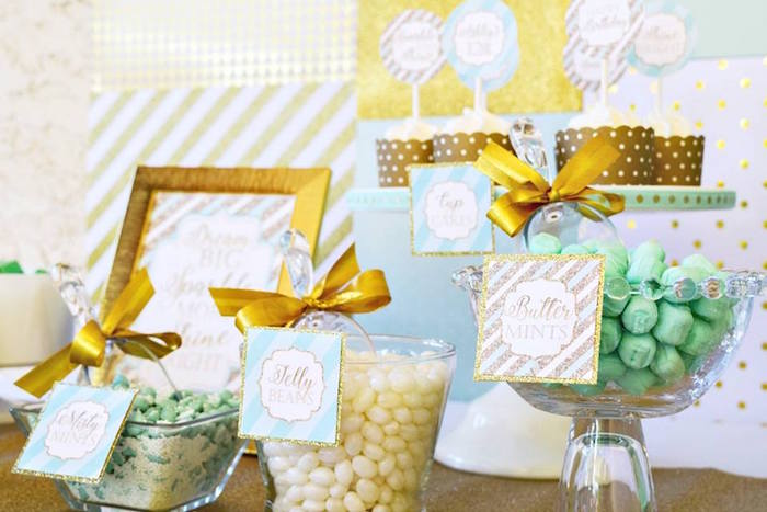 Glam Candy Buffet from a Mint & Gold Party on Kara's Party Ideas | KarasPartyIdeas.com (16)