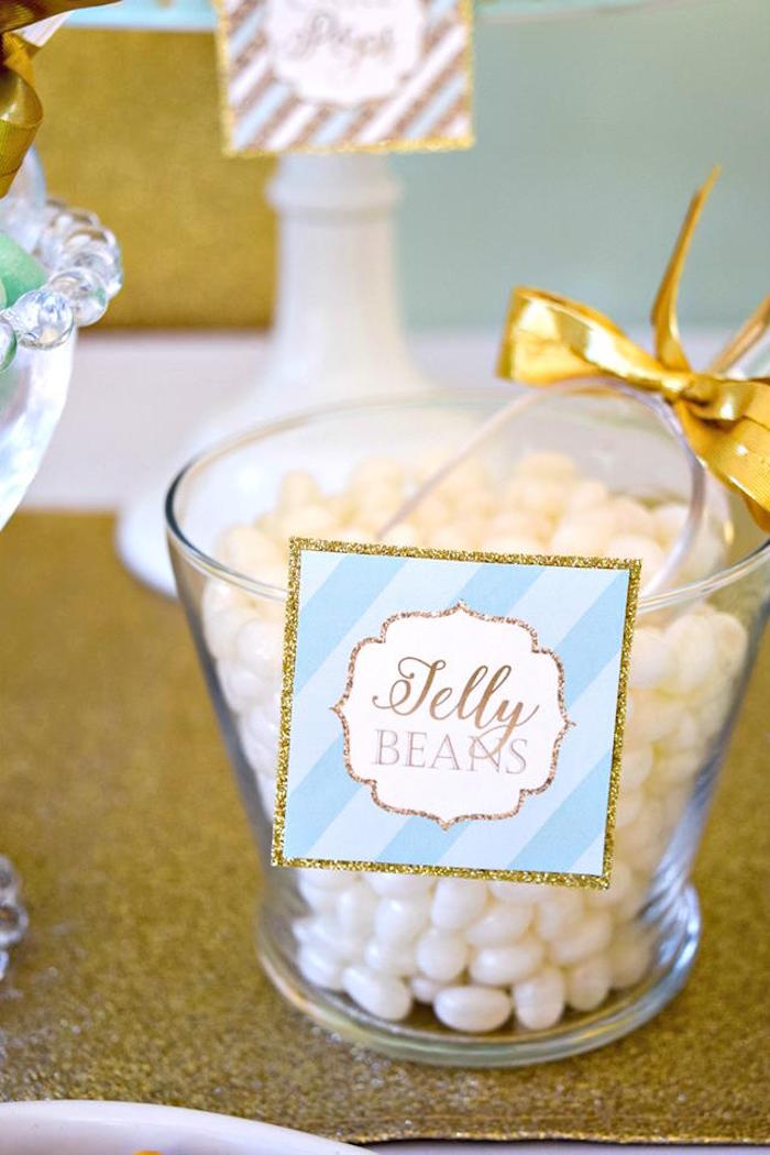 Jelly Bean Sweet Table from a Mint & Gold Party on Kara's Party Ideas | KarasPartyIdeas.com (14)