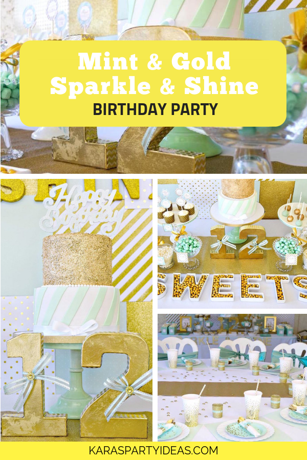 Mint & Gold Sparkle & Shine Birthday Party via Kara's Party Ideas - KarasPartyIdeas.com
