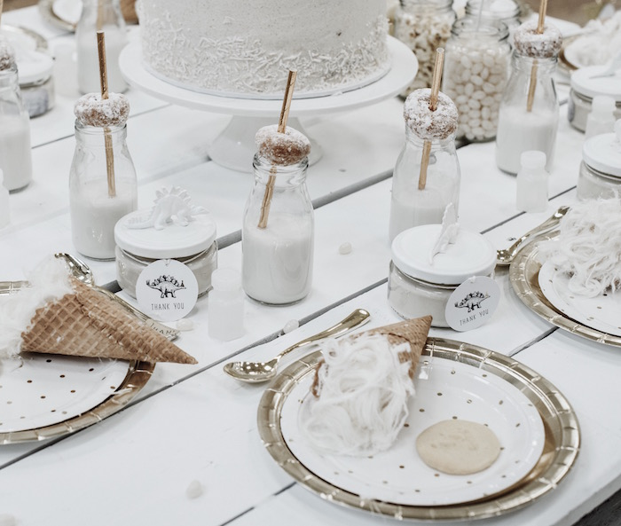 Monochromatic Glam Table Setting from a Monochromatic Dinosaur Roaring 3rd Birthday Party on Kara's Party Ideas | KarasPartyIdeas.com (26)