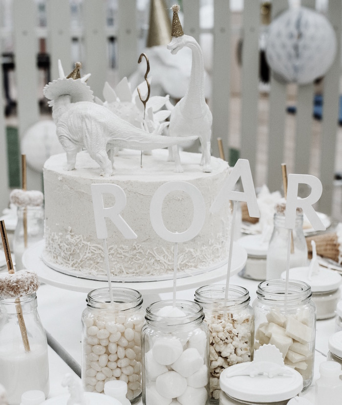 ROAR Candy Buffet from a Monochromatic Dinosaur Roaring 3rd Birthday Party on Kara's Party Ideas | KarasPartyIdeas.com (21)