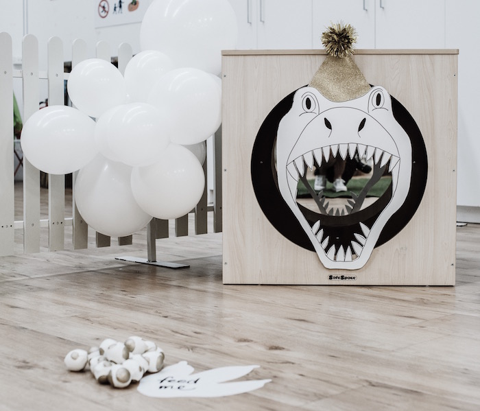 Feed the Dinosaur - Bean Bag Toss from a Monochromatic Dinosaur Roaring 3rd Birthday Party on Kara's Party Ideas | KarasPartyIdeas.com (35)