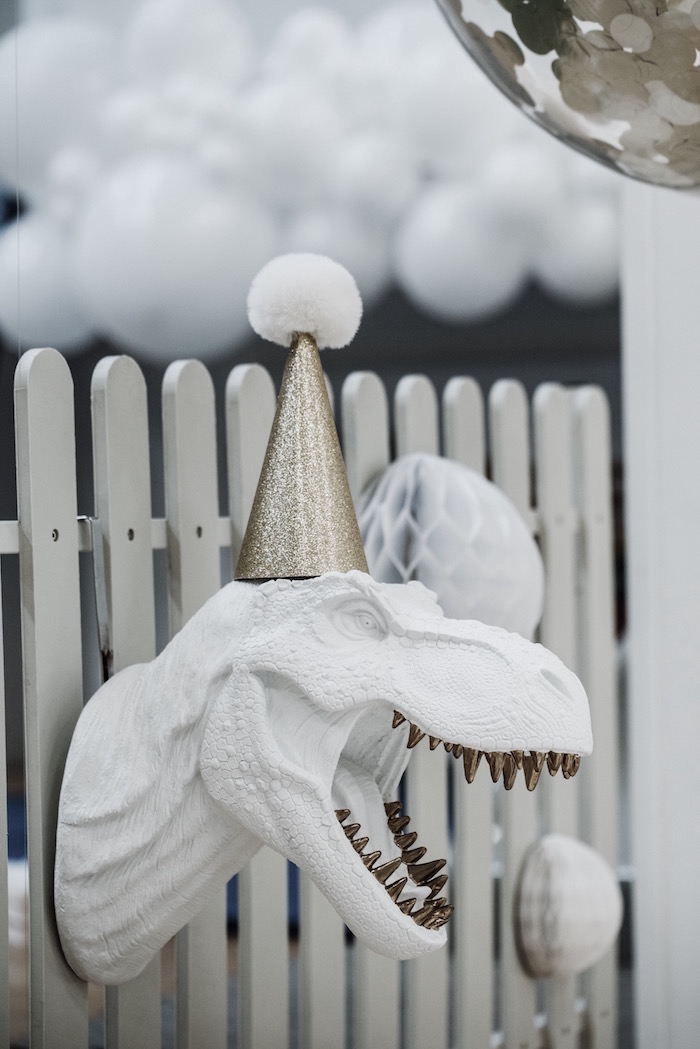 Monochromatic T-Rex Decoration from a Monochromatic Dinosaur Roaring 3rd Birthday Party on Kara's Party Ideas | KarasPartyIdeas.com (31)