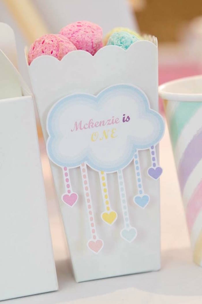 Rainbow Cloud Box from a Pastel Rainbow Unicorn Birthday Party on Kara's Party Ideas | KarasPartyIdeas.com (26)