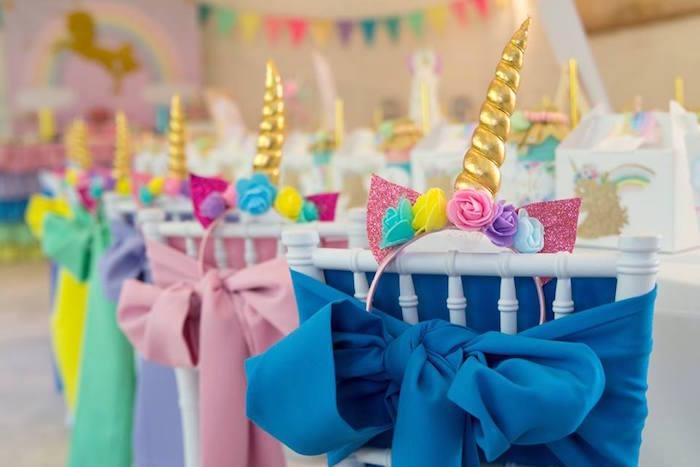 Unicorn Chairs from a Pastel Rainbow Unicorn Birthday Party on Kara's Party Ideas | KarasPartyIdeas.com (24)